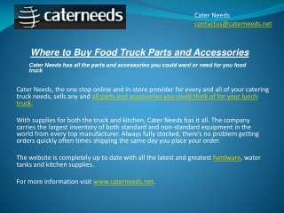 Where to Buy Food Truck Parts and Accessories