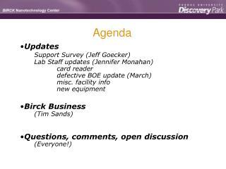 Updates Support Survey Jeff Goecker
