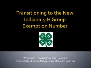Transitioning to the New Indiana 4-H Group Exemption Number