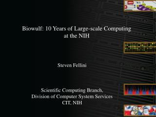 Biowulf: 10 Years of Large-scale Computing  at the NIH