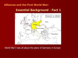 Alliances and the First World War:   Essential Background - Fact 1