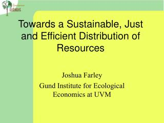 Towards a Sustainable, Just and Efficient Distribution of Resources