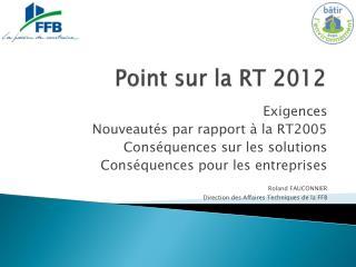 Point sur la RT 2012
