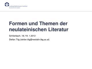 Formen und Themen der neulateinischen Literatur