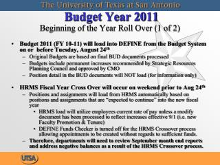 Budget Year 2011  Beginning of the Year Roll Over 1 of 2