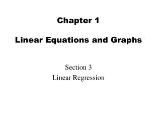 Chapter 1  Linear Equations and Graphs