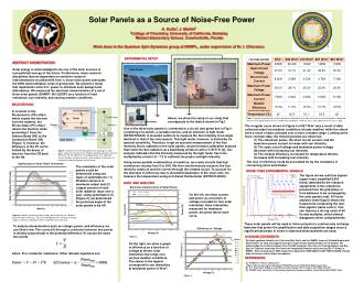 Solar Panels as a Source of Noise-Free Power