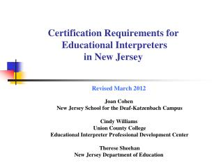 Certification Requirements for  Educational Interpreters in New Jersey