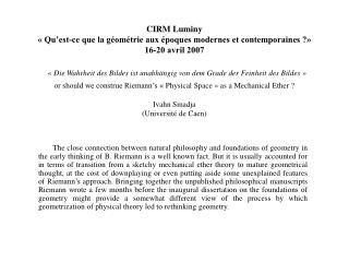 CIRM Luminy   Qu est-ce que la g om trie aux  poques modernes et contemporaines   16-20 avril 2007    Die Wahrheit des B
