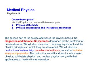 Medical Physics Physics 421