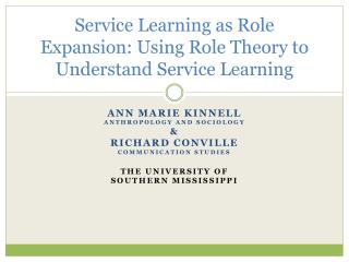 Service Learning as Role Expansion: Using Role Theory to Understand Service Learning