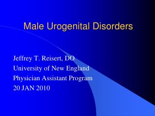 Male Urogenital Disorders