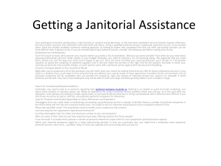 Getting a Janitorial Assistance