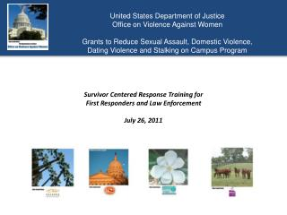 United States Department of Justice  Office on Violence Against Women  Grants to Reduce Sexual Assault, Domestic Violenc