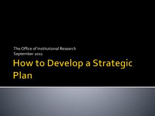 How to Develop a Strategic Plan