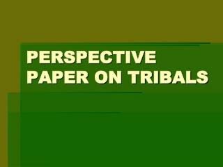 PERSPECTIVE PAPER ON TRIBALS