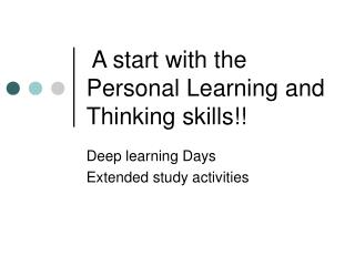 A start with the Personal Learning and Thinking skills