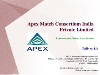 Coco Peat,Coir Fiber Exporters- Apex Match Consortium India