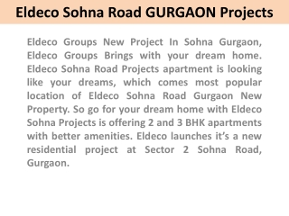 Eldeco Sohna Projects !! 91 9899606065!! Eldeco Sohna Road