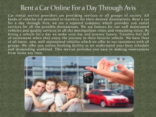 Rent a Car Online For a Day through Avis