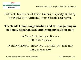 Political Dimension of Trade Unions, Capacity-Building for ICEM-IUF Affiliates  from Croatia and Serbia  The Trade Union