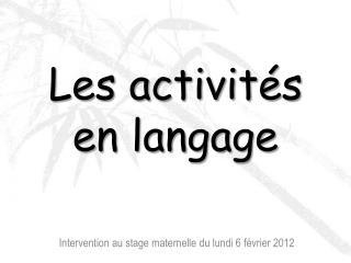 Les activit s en langage