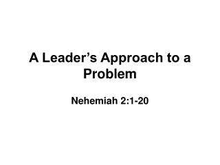 A Leader s Approach to a Problem