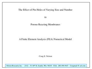 The Effect of Pin Holes of Varying Size and Number  in  Porous Reacting Membranes    A Finite Element Analysis FEA Numer