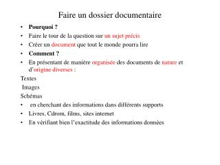 Faire un dossier documentaire