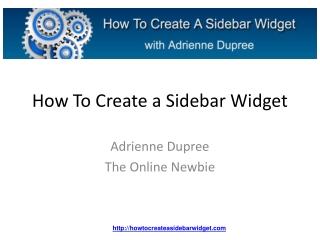 How To Create A Sidebar Widget