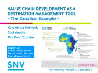 VALUE CHAIN DEVELOPMENT AS A DESTINATION MANAGEMENT TOOL  - The Zanzibar Example -