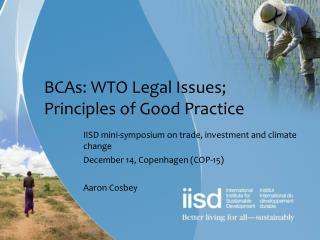 BCAs: WTO Legal Issues; Principles of Good Practice