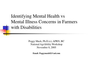 Identifying Mental Health vs  Mental Illness Concerns in Farmers with Disabilities