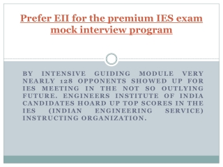 Prefer EII for the premium IES exam mock interview program