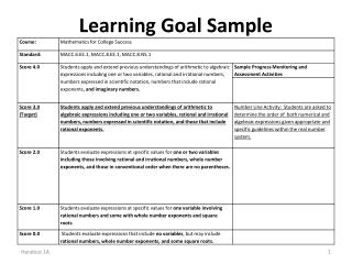 Learning Goal Sample