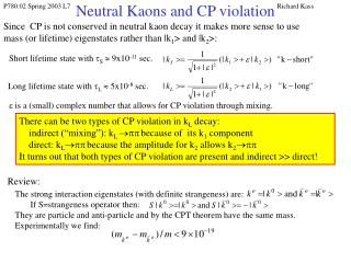 Neutral Kaons and CP violation
