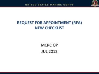 REQUEST FOR APPOINTMENT RFA NEW CHECKLIST