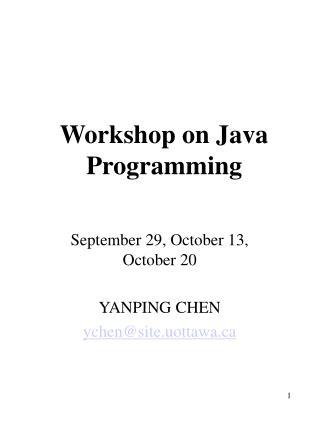 Workshop on Java Programming