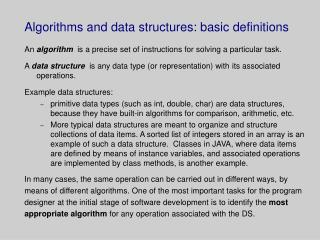 Algorithms and data structures: basic definitions