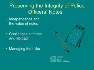 Preserving the Integrity of Police Officers  Notes