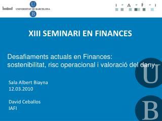 XIII SEMINARI EN FINANCES