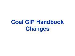 Coal GIP Handbook Changes