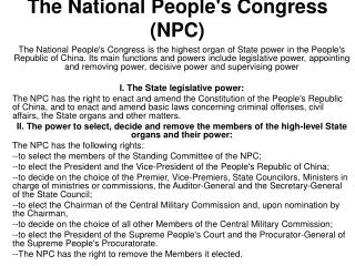 The National Peoples Congress NPC