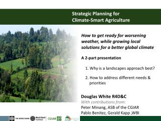 Strategic Planning for  Climate-Smart Agriculture