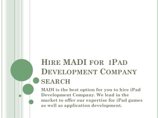 MADI offers iPad Game Developer India service