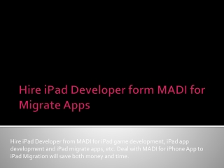 Migrate Apps and iPhone App to iPad Migration solutions with