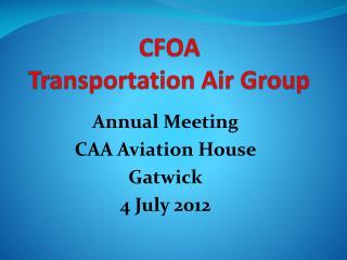 CFOA Transportation Air Group