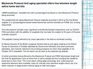 Mackenzie Protocol Anti aging specialist offers