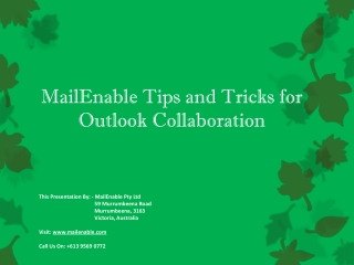 Tips and Tricks for Outlook Collaboration - MailEnable