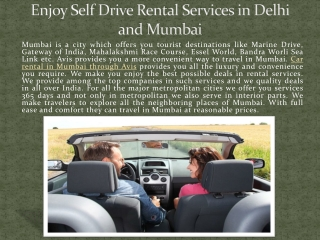 Enjoy Self Drive Rental Services in Delhi and Mumbai